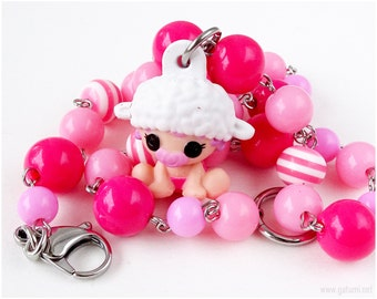 Pillow Featherbed Lalaloopsy Necklace, Baby Necklace, Toy Necklace, Kawaii Jewelry, Pink Necklace, Sweet Lolita, Harajuku Fashion
