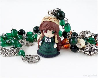 Rozen Maiden Suiseiseki Necklace, Rosary Necklace, Doll Necklace, Kawaii Jewelry, Gothic Lolita, Anime Jewelry, Green, Cream, Brown