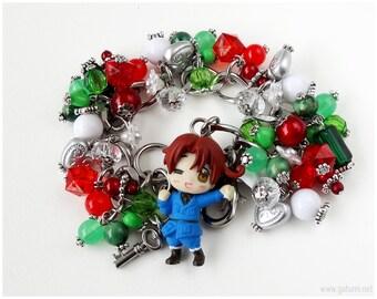 Hetalia Italy Charm Bracelet, Stainless Steel, Chunky, Link Chain, OOAK, Anime