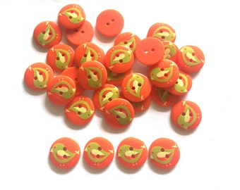 24 pcs - Cute Graphic cartoon Bird Buttons 2 holes -  size 19 mm Orange color