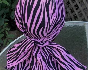 PINK and BLACK ZEBRA Cotton Fabric Womens Doorag