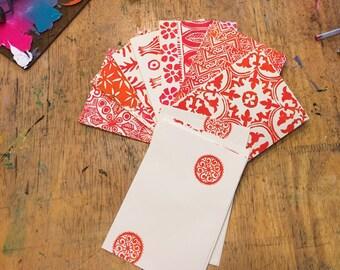 8 Block Printed Cards