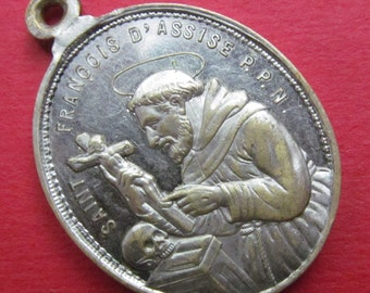 Antique Saint Anthony Religious Medal Saint Francis Assisi Catholic Pendant  SS124