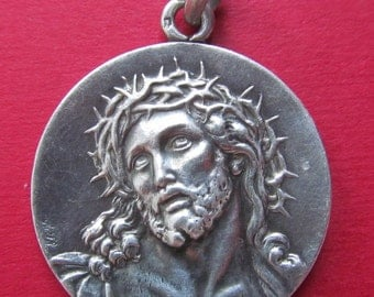 Antique Jesus Crown Of Thorns Religious Medal IHS French Silver Catholic Pendant SS-255