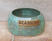 Personalised spaniel water bowl for long eared dog hand thrown stoneware pottery ceramic