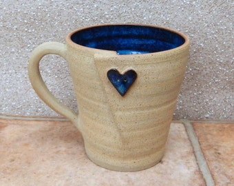 Coffee mug tea cup with a button handthrown in stoneware pottery