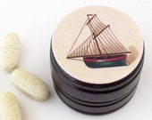 Nautical Sailboat Powder Box - Sailboat Non Toxic Vitamin Box - Masculine mini cufflinks box - Groomsmen Gifts