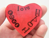 LOVE is Love Heart Shaped Magnet - Red Valentine Heart Fridge Magnet - Typography Art - Engagement Gift - Same Sex Wedding