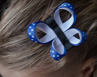 Hair Bow -Royal Blue Butterfly Ribbon Sculpture
