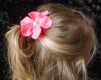 Hair Bow - Hot Pink Felt Six Petal Flower Clip with Pearl Center