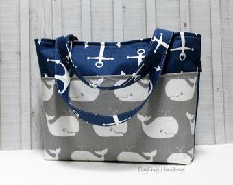 Whales and Anchors Nautical Tote Bag /  Diaper Bag /  Medium Bag
