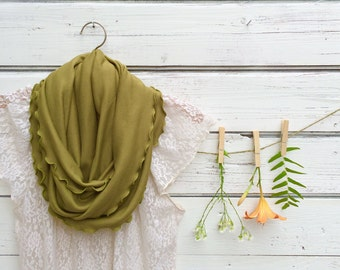 Moss Green Infinity Scarf, Circle Scarf, Peridot Green Scarf, Olive Green Scarf, Jersey Scarf, Fall Scarf, Fashion Accessories, Winter Scarf