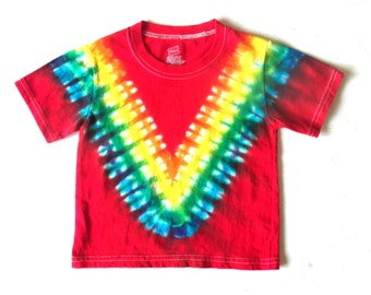 Toddler Tie-dye T-shirt, Size 2T, scarlet & rainbow V