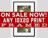 SALE FRAMED Print Any 10x20 Print Customizable Personalized - Any 10x20 Print FRAMED in Handmade 16x26x1 Custom Frame Signed