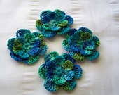 Appliques hand crocheted flowers set of 4 mermaid cotton 1.5 inch