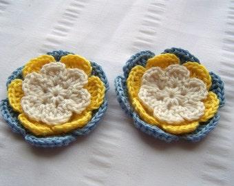 Flower crochet motif 2.5 inch cotton yellow blue