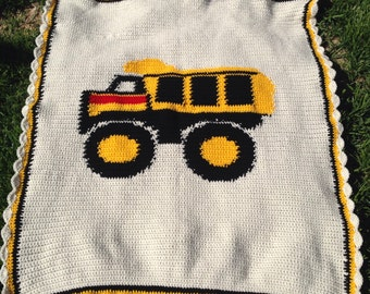 Dump Truck - Baby Blanket - Hand Made - Crocheted - Machine Washable - Crib Sized  - Made to Order - 4 Weeks Production Time