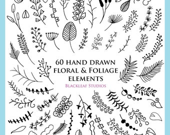 Hand Drawn Floral Elements Foliage Silhouettes Clip Art Mega Bundle Pack Instant Download - leaves, branches, twigs graphics