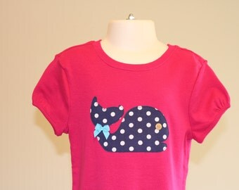 STORE CLOSING, Whale Top, Fuchsia & Navy, Size S/6-7, RTS