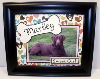 Dog Frame - Personalized - 8x10 or 10x10 - Any Message, Any Accent Color - Frame IS Included