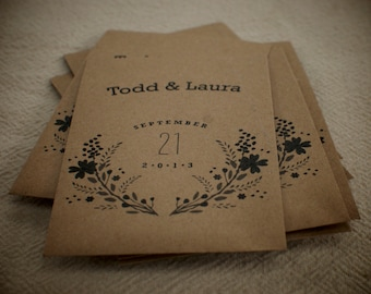 Great Eco Friendly Wedding Favor Idea - 100 Customized Packs of Organic Seeds