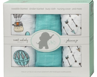 Swaddle Blankets -- Woodland Away We Go -- Pack of 3