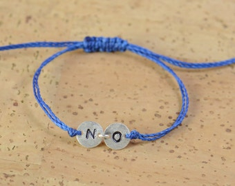 Sterling silver initials bracelet.Double Disc.2 Letters