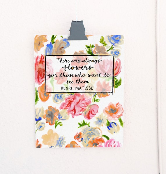 Always Flowers Lettered Print