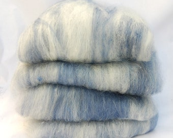 BFL/Silk Blue White Spinning Batts - 4 ounces