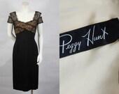 1950 Peggy Hunt Black Crepe Wiggle Dress Lace Shelf Bust Beautiful