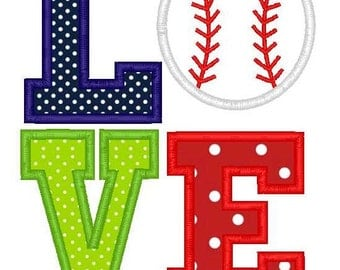 Love Baseball Machine Embroidery Applique Design