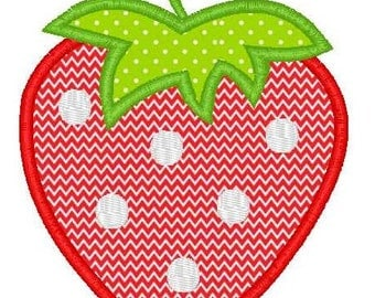 Strawberry Machine Embroidery Applique Design 2 Sizes