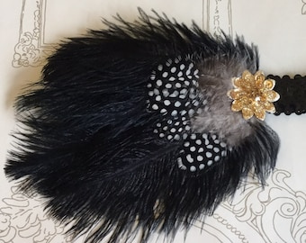 Black feather flapper headband - Feather fascinator - 1920's headband - Gatsby Downton headpiece.