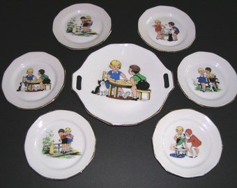 Rare 1930s French Children's Dish Set, Limoges, Girl Boy Dog Cat Duck Fish, TheRetroLife