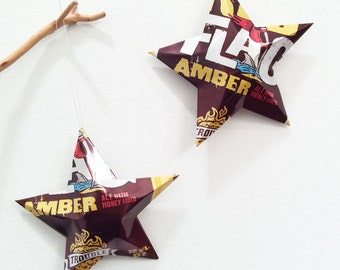 Trouble Brewing, Red Flag Amber Ale Beer Stars, Ornaments, Aluminum Can, Upcycled Beer Can