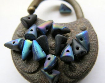 NEW JET CONES. Czech Pressed Glass Beads . 5 by 7 mm  (20 beads)