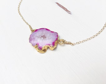Pink Agate Slice Druzy Necklace