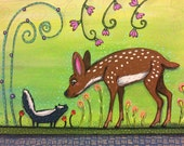Baby Skunk and Fawn Pop Art Happyart Painting