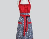 Cute Kitsch Retro Aprons . Womens Full Chef Vintage Kitchen Cooking Apron Santas and Snowflakes Handmade Hostess Womans Apron