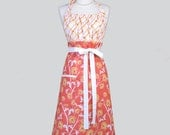 Cute Kitsch Retro Aprons / Vintage Style Womans Apron in Avignon Orange and White Vines and Yellow Plaid Full Kitchen Chef Womens Aprons