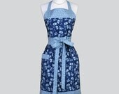 Full Womens Aprons , Cute Vintage Kitchen Cooking Shades of Blue Daisies and Butterflies Retro Chef Hostess Womans Apron Personalize