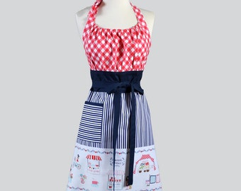 Cute Kitsch Retro Apron / Vintage Inspired Womens Cooking Apron in Market Border Navy Stripes mixed with Red Bias Gingham Cute Kitchen Apron