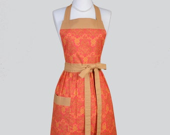 Full Bib Womens Apron / Coral and Caramel Damask Blend in a  Cute Full Vintage Inspired Kitchen Apron Personalize or Monogram