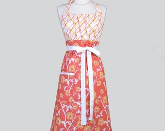 Cute Kitsch / Orange and White Vines with Yellow Plaid Kitchen Chef Womens Aprons