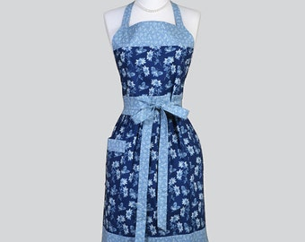 Classic Bib Apron , Blue Daisies and Butterflies Retro Chef Hostess Womans Apron Ideal to Personalize or Monogram