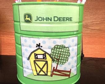 MINI TRASH CAN KPC128 /Trash Can/Toy Bin/Utensils/Money/Candy/Gift Holder/Brush Holder (John Deere Fabric)