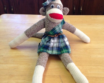 SCOTTISH SOCK MONKEY  Anatomically correct! Artisan made ooak