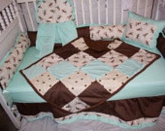 Mint Sock monkey  Crib bedding-Free personalized pillow