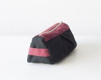 Accessory bag in black canvas and oxblood suede leather, makeup bag accessory bag pencil case zipper  - Estia Bag