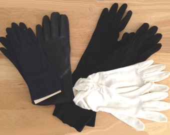 Vintage 4 Pr Ladies Gloves Edelweiss Suede Kid Navy Nylon Fownes Deerskin